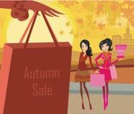 Autumn Shopping-kaart stock illustratie