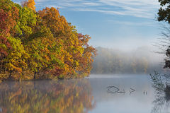 Autumn, Shoreline Eagle Lake. Autumn shoreline of Eagle Lake in fog with reflections in calm water, Fort Custer State Park, Michigan, USA Stock Images