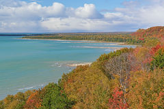 Autumn Shoreline Lake Michgan. Autumn shoreline of Lake Michigan at Cut River Gorge, Michigan's Upper Peninsula, USA Royalty Free Stock Image