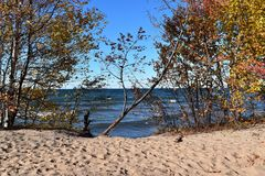 Autumn shoreline of Lake Superior on a sunny fall day Stock Image