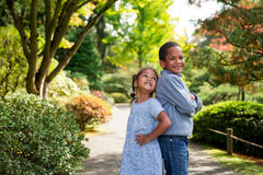 Autumn Siblings royalty free stock photo