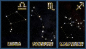 The autumn signs of the zodiac. The three autumn signs of the zodiac with identification of the constellations and symbols used to identify them vector illustration