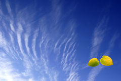 The autumn sky. Autumn plumose clouds and two yellow leaves Royalty Free Stock Photos