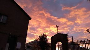 Autumn sky cemetry Royalty Free Stock Photography