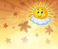 Autumn sky with cheerful sun. Eps10 vector illustration Stock Photos