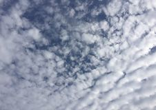 Autumn Sky Clouds Blue White Rippling Stock Images