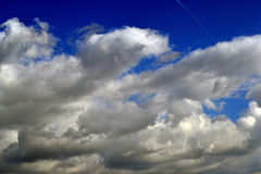 Autumn sky with clouds. Giants over Danube royalty free stock photo