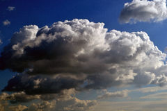 Autumn sky with clouds. Giants over Danube royalty free stock images