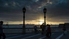 Autumn Sky La Caleta Cadiz Spain Time-schackningsperiod stock video
