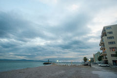 The autumn sky over the sea beach in Pomorie, Bulgaria Stock Image