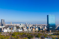 Autumn skyline of Osaka, japan. Royalty Free Stock Photo