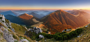 Autumn Slovakia mountain panorama stock images