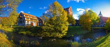 Autumn in Slupsk. Calm river and autumn trees in Slupsk Royalty Free Stock Photo