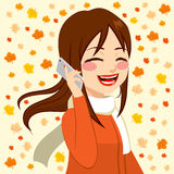 Autumn Smartphone Girl Image stock