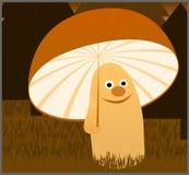 Autumn Smiling Mushroom With Umbrella debajo de la lluvia en el bosque Foto de archivo
