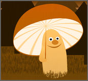Autumn Smiling Mushroom With Umbrella sotto la pioggia nella foresta Fotografia Stock