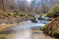 Misty Mountain stream landscape. Autumn Smoky Mountain stream long exposure silky water Royalty Free Stock Photo