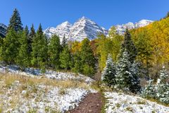 Autumn Snow at Maroon Bells Royalty Free Stock Image