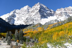Autumn Snow at Maroon Bells Royalty Free Stock Photos