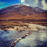 Autumn. The snow-mountain and the river inTibet royalty free stock image