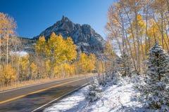 Autumn Snow in The San Juan Mountains Stock Photos