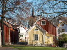 Autumn in Soderkoping, Sweden. Soderkoping, Sweden - November 11, 2015: A sunny autumn day in Soderkoping. Soderkoping is a small old historic and idyllic town Royalty Free Stock Image