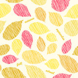 'Autumn soon'. Fall texture with scraped raspberry leaves. Bright seamless pattern. Stock Images