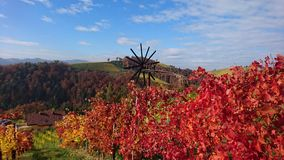 Autumn in the south of Austria. A beautiful autumn-day in the south of Styria. You see a Klapotetz (windwheel) beetween colorful grapevines. The view is from the Royalty Free Stock Photo