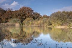 Autumn on Southampton Common Ornamental Lake stock photography