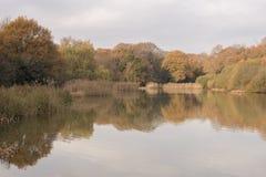 Autumn on Southampton Common Ornamental Lake royalty free stock photos