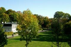 Autumn spa. Old sanatorium in west europe Stock Photos