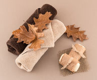 Autumn Spa with Artisan Soap and Luxury Towels Royalty Free Stock Photo