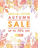 Autumn special offer banner. With autumn leaves and floral elements in fall colors.Sale season card perfect for prints, flyers,banners, promotion,special offer stock illustration