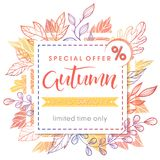 Autumn special offer banner. Hand drawn lettering autumn with leaves in fall colors.Sale season card perfect for prints, flyers,banners, promotion,special offer Royalty Free Stock Photography