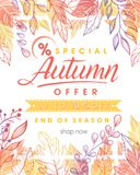 Autumn special offer banner. Hand drawn lettering autumn with leaves in fall colors.Sale season card perfect for prints, flyers,banners, promotion,special offer Royalty Free Stock Photos