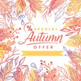 Autumn special offer banner. Hand drawn lettering autumn with leaves in fall colors.Sale season card perfect for prints, flyers,banners, promotion,special offer Stock Images