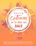 Autumn special offer banner. Hand drawn lettering autumn with leaves in fall colors.Sale season card perfect for prints, flyers,banners, promotion,special offer royalty free illustration