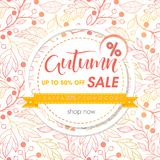 Autumn special offer banner. Hand drawn lettering autumn with seamless pattern in fall colors.Sale season card perfect for prints,flyers,banners,promotion Royalty Free Stock Photography