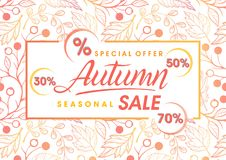 Autumn special offer banner. Hand drawn lettering autumn with seamless pattern in fall colors.Sale season card perfect for prints,flyers,banners,promotion Royalty Free Stock Images