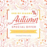 Autumn special offer banner. Hand drawn lettering autumn with seamless pattern in fall colors.Sale season card perfect for prints,flyers,banners,promotion Stock Images