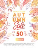 Autumn special offer banner. With autumn leaves and floral elements in fall colors.Sale season card perfect for prints, flyers,banners, promotion,special offer royalty free stock photos