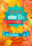 Autumn Special Offer 10 Discount on Polygon Label. Autumn special offer 10 discount on polygon blue label and text written on ribbon isolated on background with Stock Image