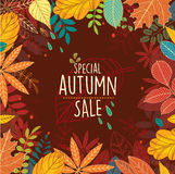 Autumn special sale poster with leaves Royalty Free Stock Image