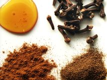 Autumn Spices. Array of honey, cloves, allspice, and cinnamon powder Stock Photo