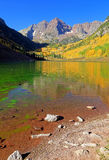 Autumn splendor at Maroon Lake in the Rocky Mountains. Royalty Free Stock Photography