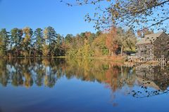 Autumn splendor at Yates Mill Royalty Free Stock Images