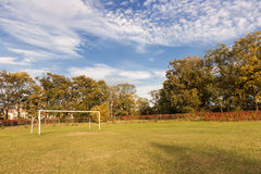 Autumn sports field. Royalty Free Stock Photography