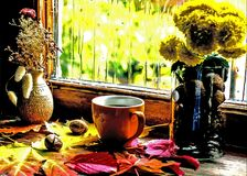 Autumn or spring sorrow warms coffee. Autumn composition a cup of coffee, a vase with chrysanthemums, colorful leaves and with dripping rain drops on the window stock image