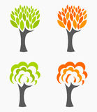 Autumn and spring trees. Spring and autumn trees seasons set. Vector illustration Stock Photography
