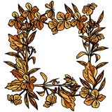 Autumn square frame made of branches and flowers, leaves and flowers, sketch, orange and black on white background. Vector Stock Photography